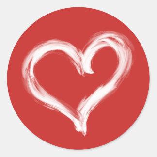 Bürste gemalter weißer Herz-Aufkleber