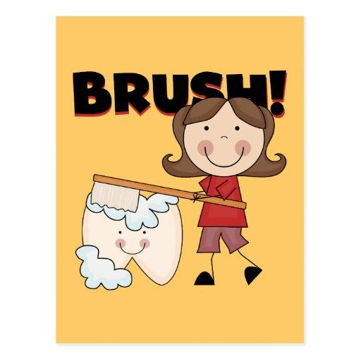 BÜRSTE - Mädchen mit Zahn-T-Shirts und Geschenken Postkarte