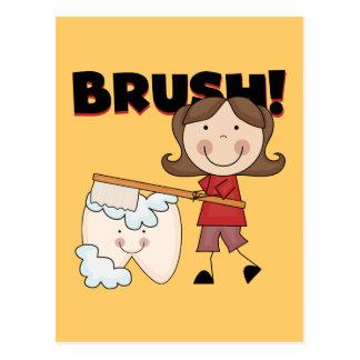 BÜRSTE - Mädchen mit Zahn-T-Shirts und Geschenken Postkarten