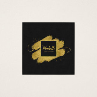 Bürsten-Anschlag-und Wirbels-Gold auf schwarzem Quadratische Visitenkarte