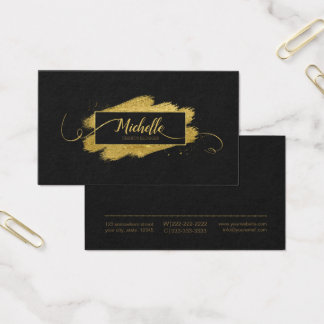 Bürsten-Anschlag-und Wirbels-Gold auf schwarzem Visitenkarte