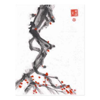 Bürsten-Kunst-Beeren-Baum-Postkarte Postkarten