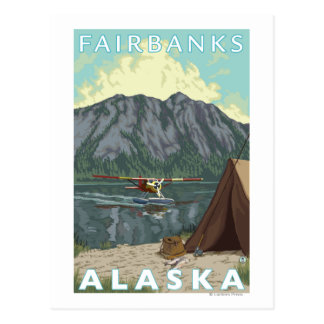 Bush-Flugzeug u. Fischen - Fairbanks, Alaska Postkarte