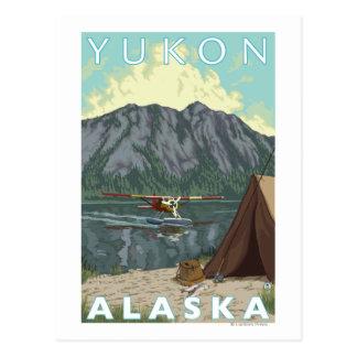 Bush-Flugzeug u. Fischen - Yukon, Alaska Postkarte