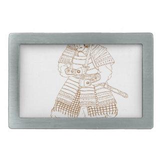 Bushi Samurai-Krieger-Zeichnen Rechteckige Gürtelschnalle