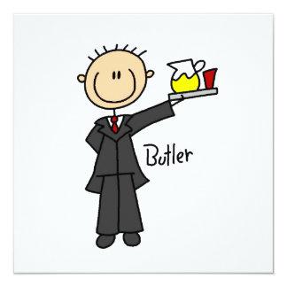 Butler-Strichmännchen Quadratische 13,3 Cm Einladungskarte