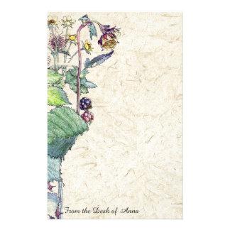 Büttenpapier-BlackBerry-Beeren-Blumen-Briefpapier Briefpapier