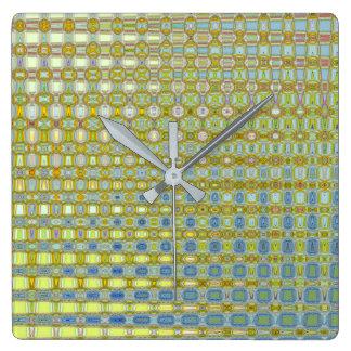 Butterblume-u. Blau-quadratische Uhr durch