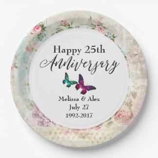 Butterflie und Vintager Rosen-Jahrestag Pappteller