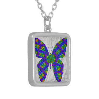 Butterfly Halskette Mit Quadratischem Anhänger