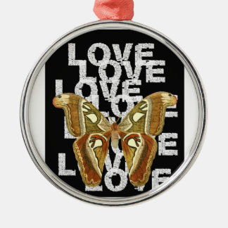 butterfly love silbernes ornament