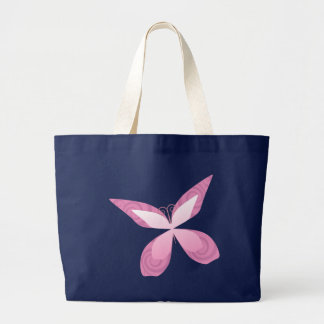 Butterfly Pink Ribbon Tote Bags