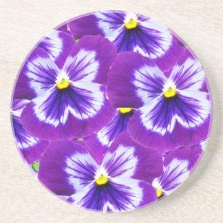 Butterfly_Purple_Pansies, _ Sandstein Untersetzer