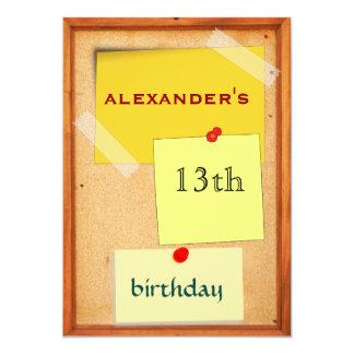 Button-Brett-Jungen-13. Geburtstag 12,7 X 17,8 Cm Einladungskarte