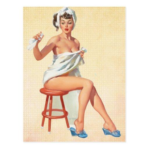 Button herauf Mädchen Postkarten