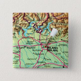 Button-Karte der Stadt von Mailand, Italien Quadratischer Button 5,1 Cm