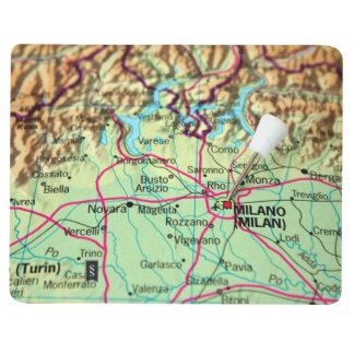 Button-Karte der Stadt von Mailand, Italien Taschennotizbuch