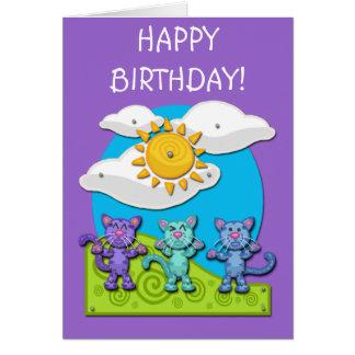 Button-Katzen-Geburtstags-Karte Grußkarte