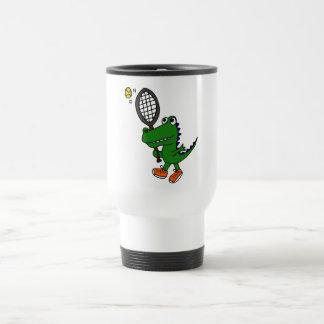 BX-, lustiger Alligator, der Tennis spielt Edelstahl Thermotasse