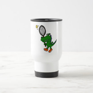 BX-, lustiger Alligator, der Tennis spielt Reisebecher