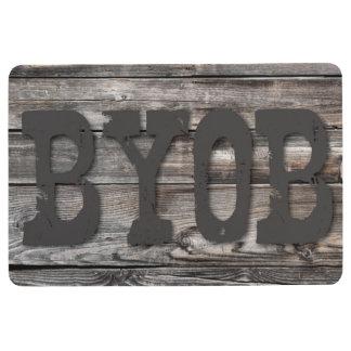 BYOB - auf hölzerner Beschaffenheit Bodenmatte