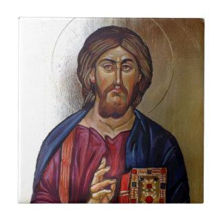 Byzantinische Ikone von Christus Pantocrator Keramikfliese