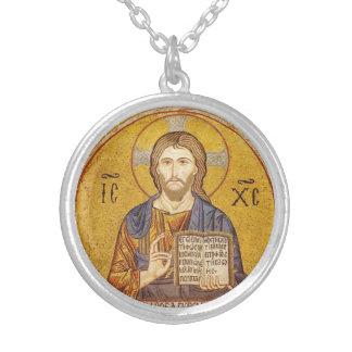 Byzantinische Malerei des Jesus Christus Halskette Mit Rundem Anhänger