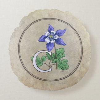 C für Columbine-Blumen-Monogramm Rundes Kissen