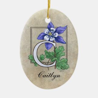 C für Columbine-Blumen-Monogramm-Verzierung mit Keramik Ornament
