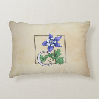 C für Columbine-Blumen-Monogramm Zierkissen