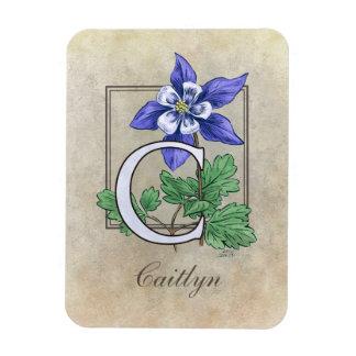 C für Columbines Blumen-Monogramm Magnet
