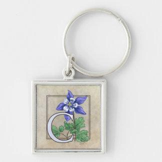 C für Columbines Blumen-Monogramm-Quadrat Keychain Schlüsselanhänger