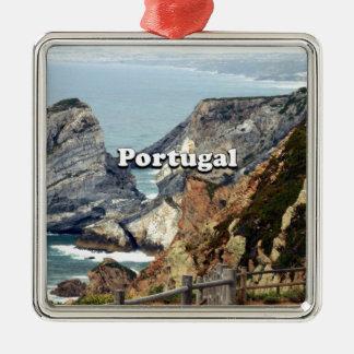 Cabo DA Roca: Portugal Quadratisches Silberfarbenes Ornament