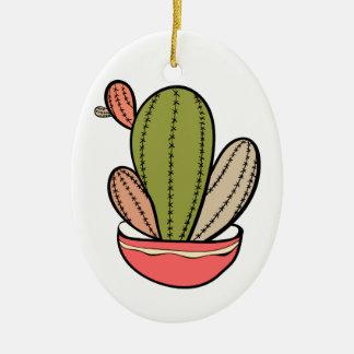 Cactus Vektor illustration. Hand drawn. Cactus pla Ovales Keramik Ornament