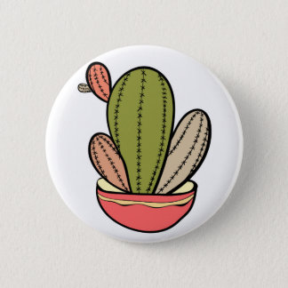 Cactus Vektor illustration. Hand drawn. Cactus pla Runder Button 5,7 Cm
