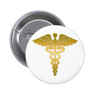 Caduceus golden runder button 5,7 cm