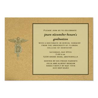 Caduceus-hängender zahnmedizinische SchulAbschluss 12,7 X 17,8 Cm Einladungskarte