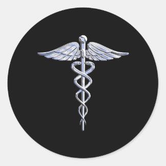 Caduceus-medizinisches Symbol auf Schwarzem Runder Aufkleber
