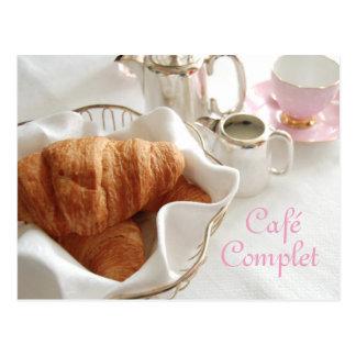 Café Complet, kontinentales Frühstücks-Postkarte Postkarte