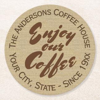 """Café """"genießen unser Kaffee-"""" Name Runder Pappuntersetzer"""
