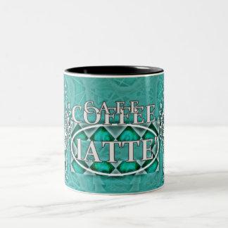 """""""Café-Kaffee"""" Latte* Aqua-Farbe Zweifarbige Tasse"""