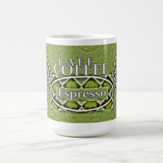 """Café-Kaffee"" Latte* olivgrüner Grn Zwei-Ton Kaffeetasse"