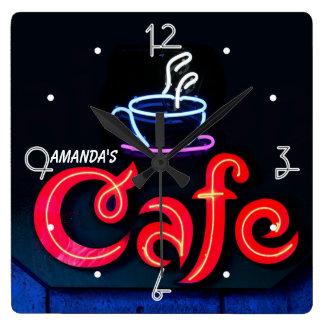 Café-Neonlicht-Zuhause-personalisierte Bar-Uhr Quadratische Wanduhr