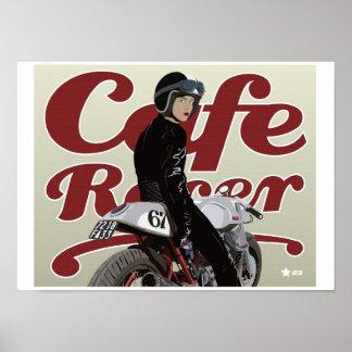 Café-Rennläufer-Mädchen auf Moto Guzzi-Motorrad Poster