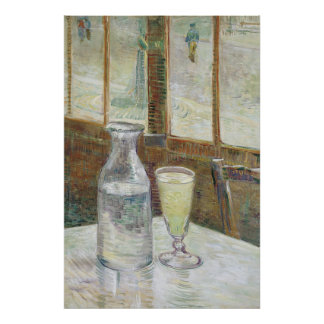Café Tabelle mit Absinth Plakat