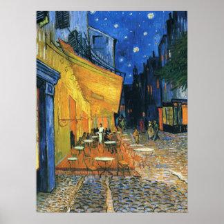 Café-Terrasse nachts Poster