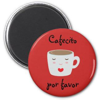 """""""Cafecito"""" spanischer Magnet mit Kaffeetasse Runder Magnet 5,1 Cm"""