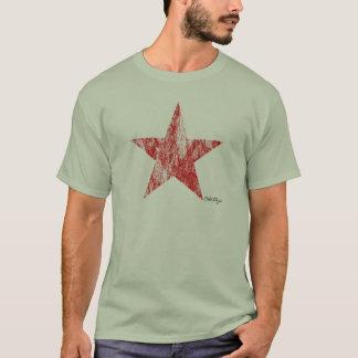 Caféracer-roter Stern-Vintager angeredeter T - T-Shirt