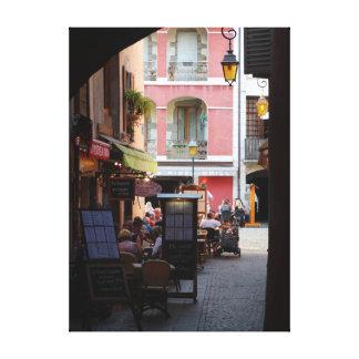 Cafés im Freien, Restaurants in der wunderlichen Leinwanddruck