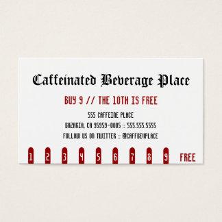 Caffeinated Getränkeplatz-Lochkarte Visitenkarten